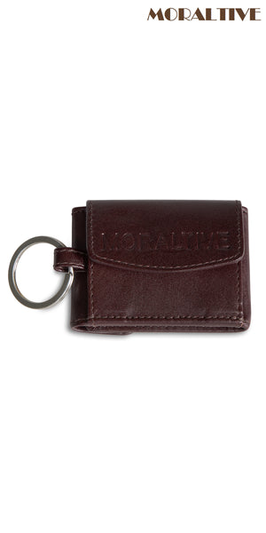 brown leather keyring with portemonnaie backside