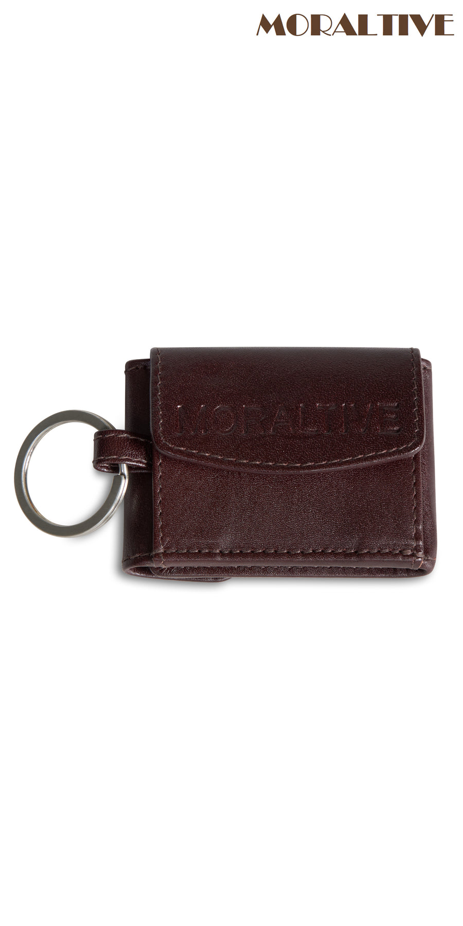 Brown leather keyring with portemonnaie