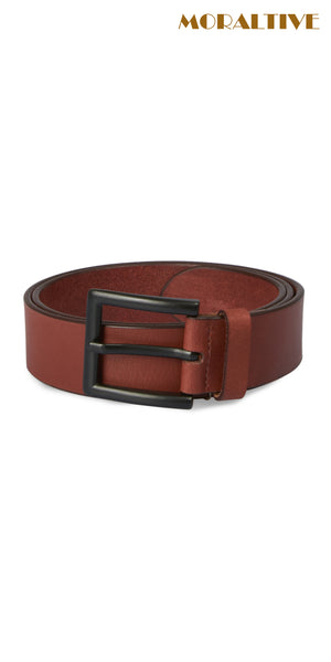 brown leather belt with black buckle