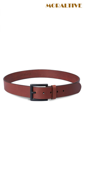 brown leather belt with black buckle enlarged
