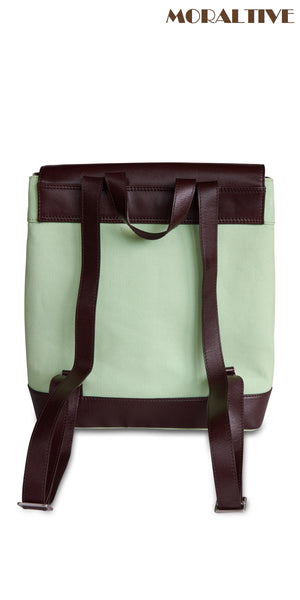 Backpack backside view - light green canvas & dark brown leather
