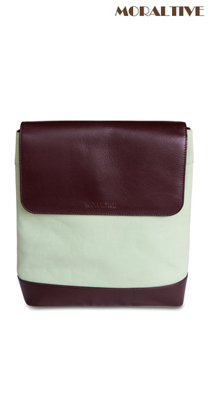 Backpack - light green canvas & dark brown leather