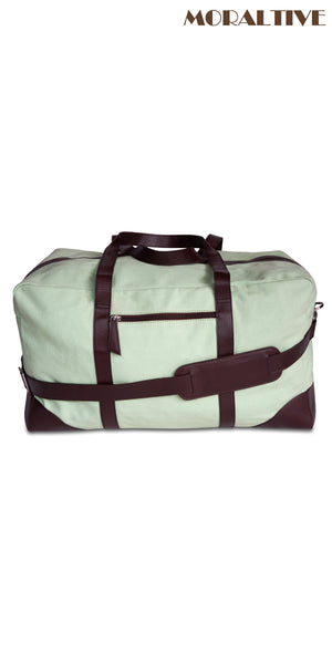 Duffle Bag - Green Canvas & Brown Leather