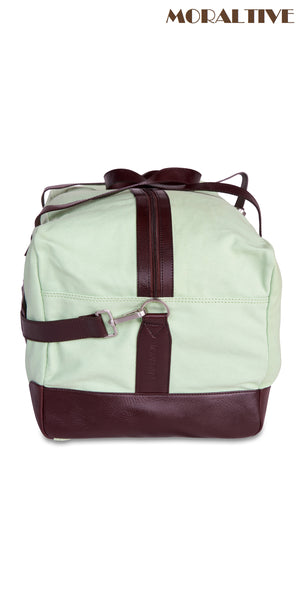 Duffle Bag closeup - Green Canvas & Brown Leather