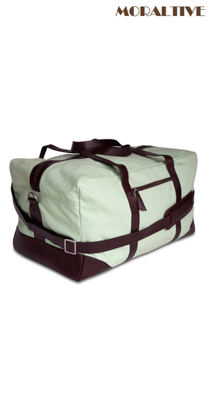 Duffle Bag  Side View- Green Canvas & Brown Leather