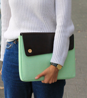 Moraltive Laptop Sleeves - Mint Green & Brown
