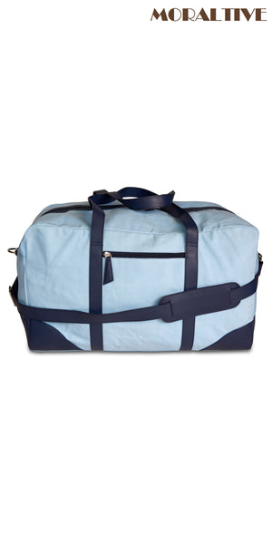 Duffle Bag - Sky Blue Canvas & Blue leather