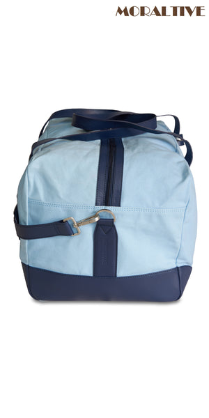 Duffle bag  close up- sky blue canvas & blue leather