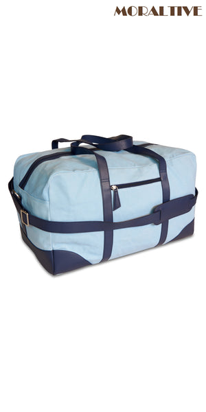 Duffle bag side view- sky blue canvas & blue leather