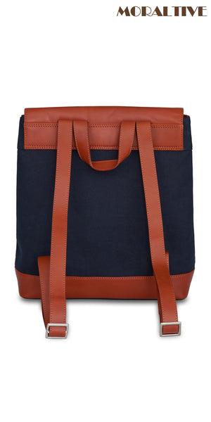 Backpack back view - navy blue canvas & tan leather