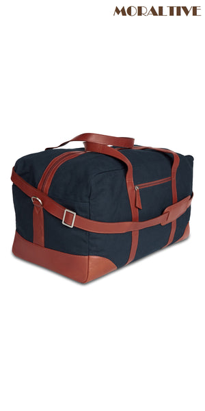 Duffle Bag - Navy Blue Canvas & Tan Leather