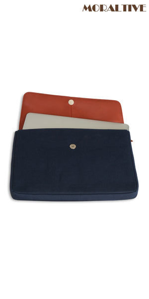 laptop sleeve navy blue canvas & tan leather opened view