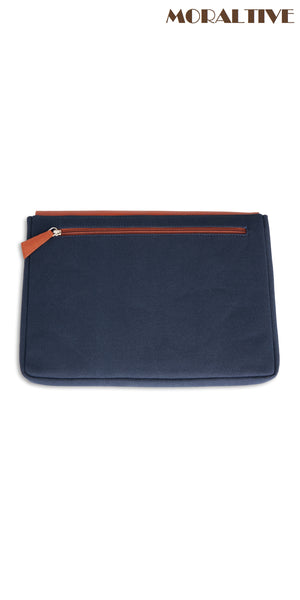 laptop sleeve with zip backside - navy blue canvas & tan leather