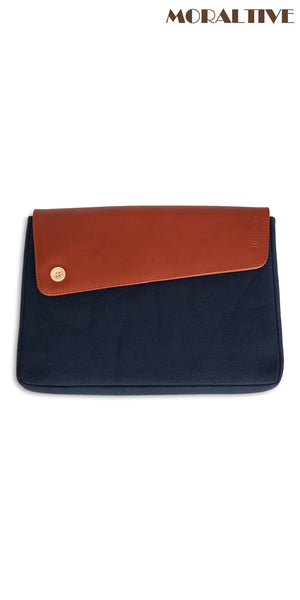 laptop sleeve navy blue canvas & tan leather