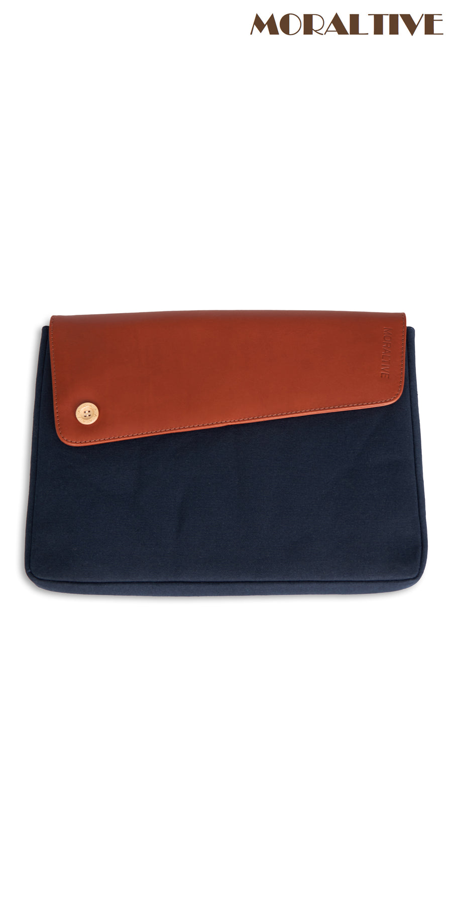Moraltive Laptop Sleeves - Navy Blue & Tan