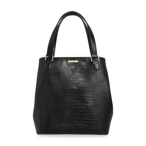 CELINE FAUX CROC DAY BAG | BLACK