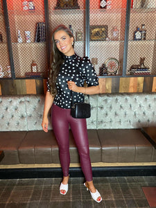 Wine Faux Leather Biker Leggings