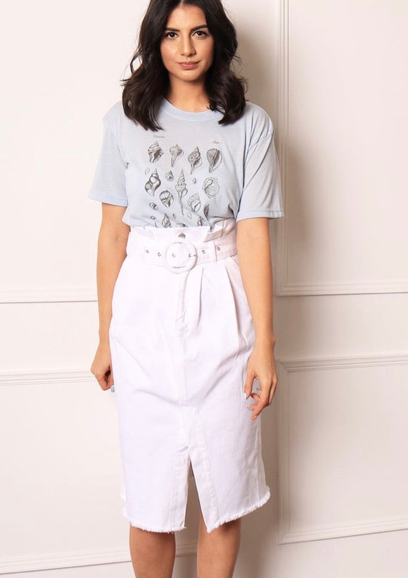 High Waisted Belted Paperbag Denim Midi Skirt