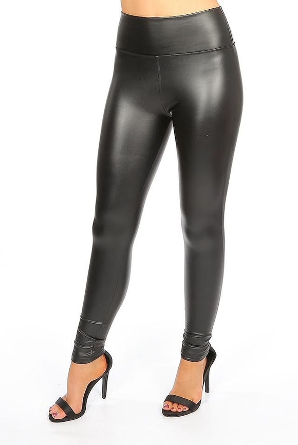 Black faux leather look leggings
