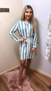 Green Stripe Shirt Dress