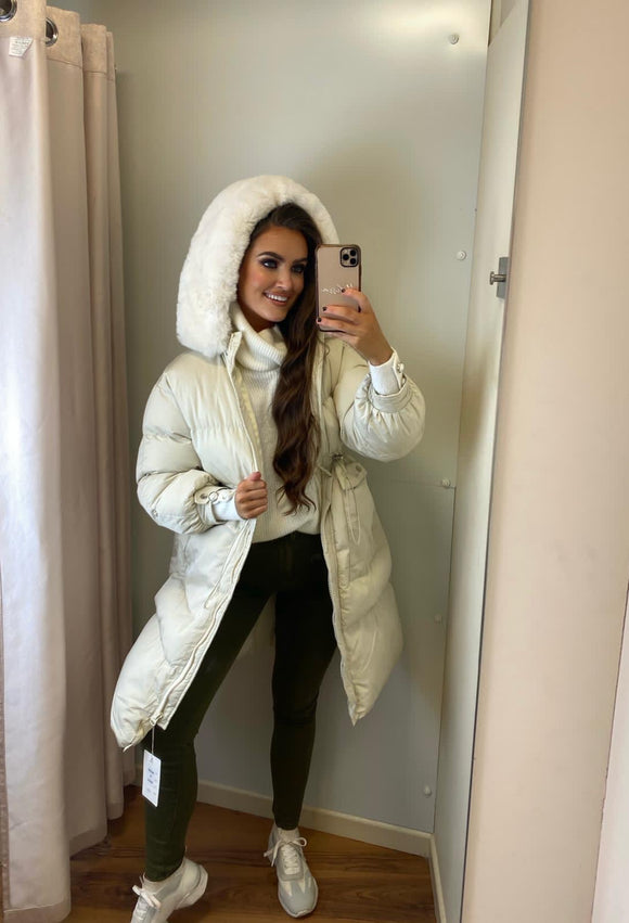 Longline Quilted Hooded Puffer Coat with Faux Fur trim in Stone