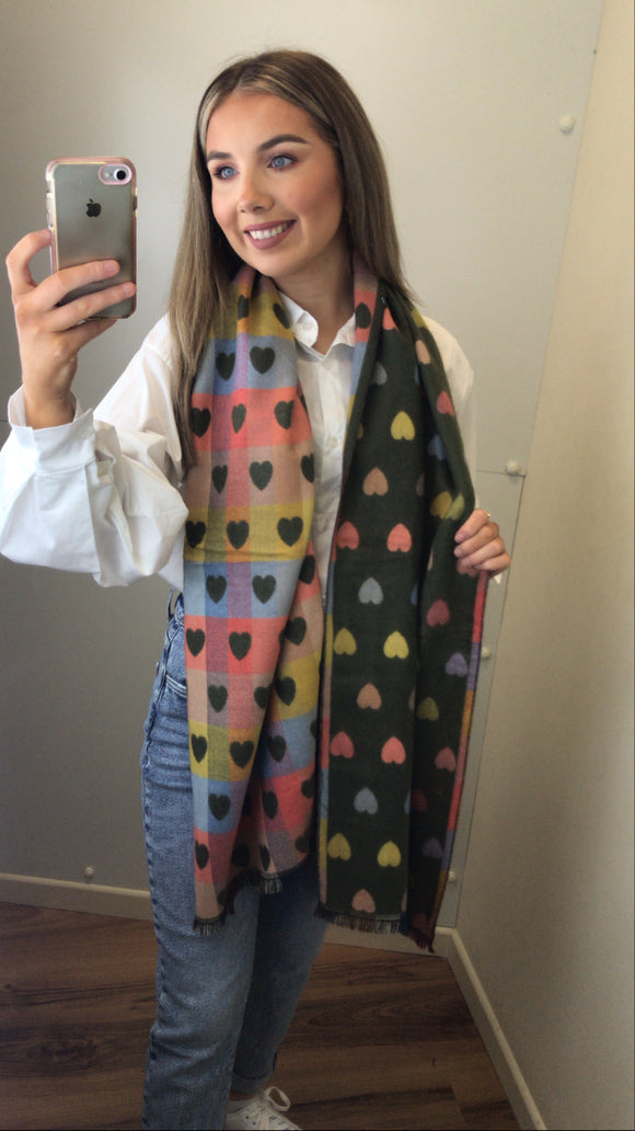 Multi Colour Heart Scarf - Khaki