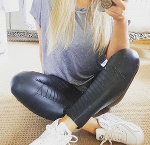 Leather Look Biker Leggings