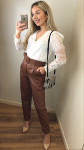 Brown High Waist Belted Trousers
