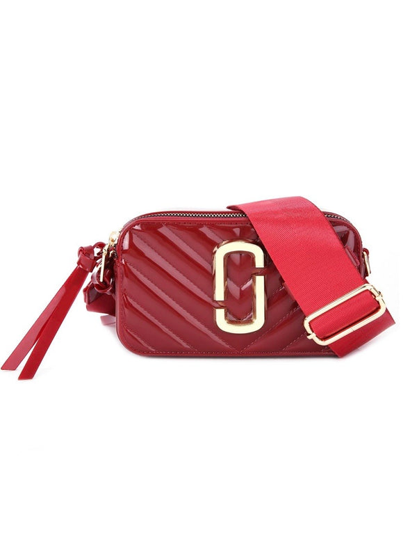 Patent Marc Jacobs Inspired Crossbody Bag - Wine