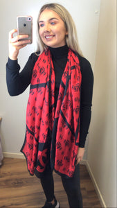 Red/Black C inspired Silk Scarf