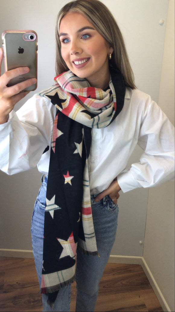 Two tone star scarf - Black