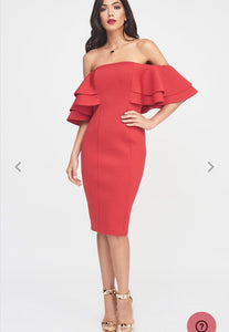 Double Frill Bardot Scuba Dress