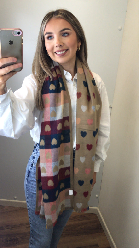 Multi Colour Heart Scarf - Beige