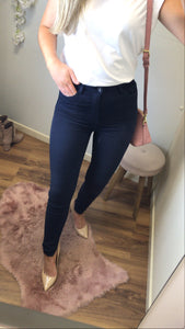 Navy Blue Stretch Fit High Waist Jeans
