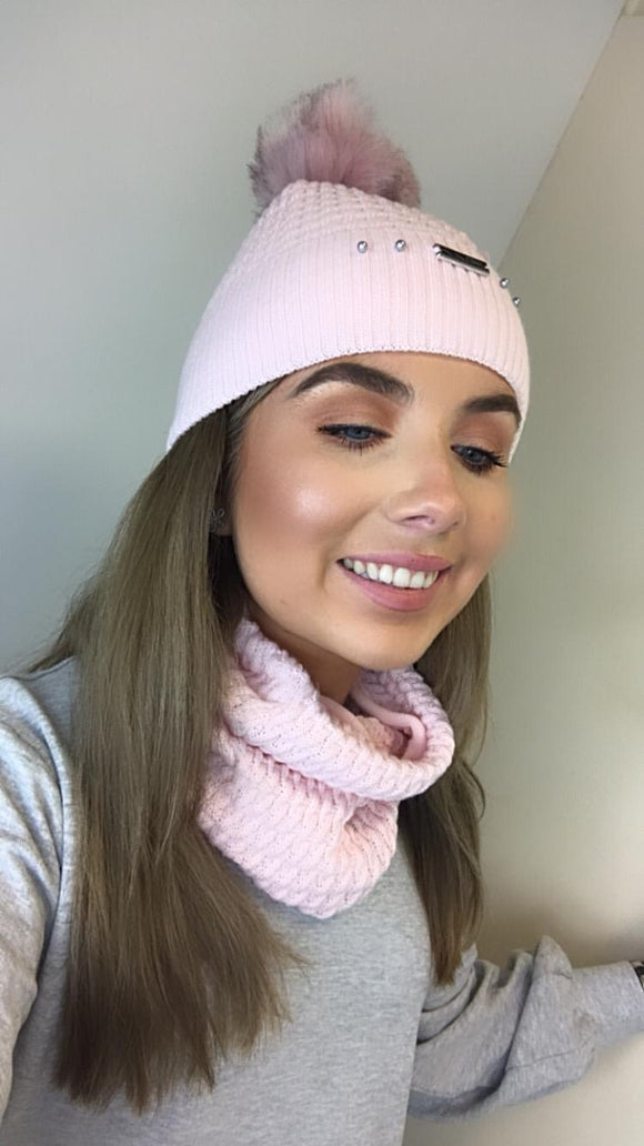 Baby Pink Hat and Snood Set