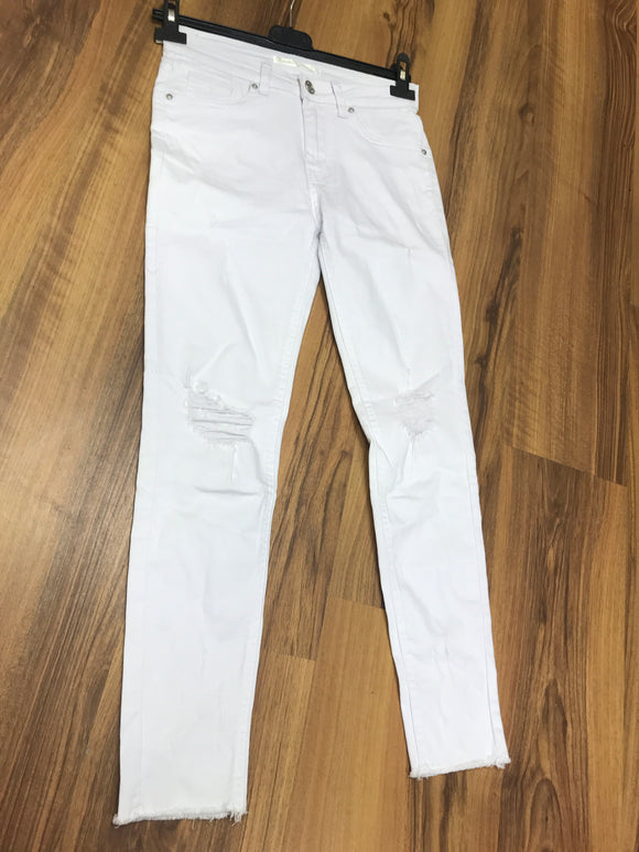 White Ankle grazer jeans with rips