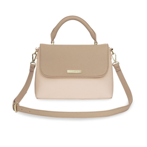 Talia Two Tone Messenger Bag Taupe/Nude Pink