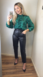 SETRE high waist black leather look trousers