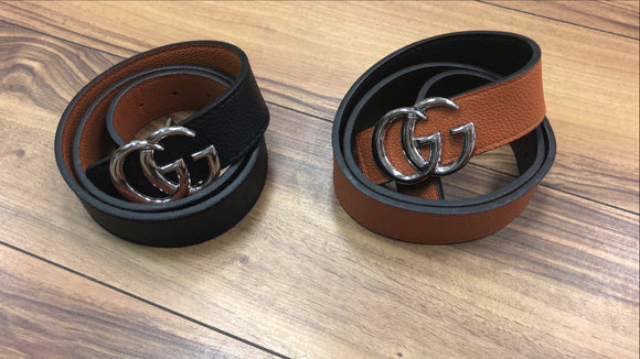 Sliver buckle G inspired belt