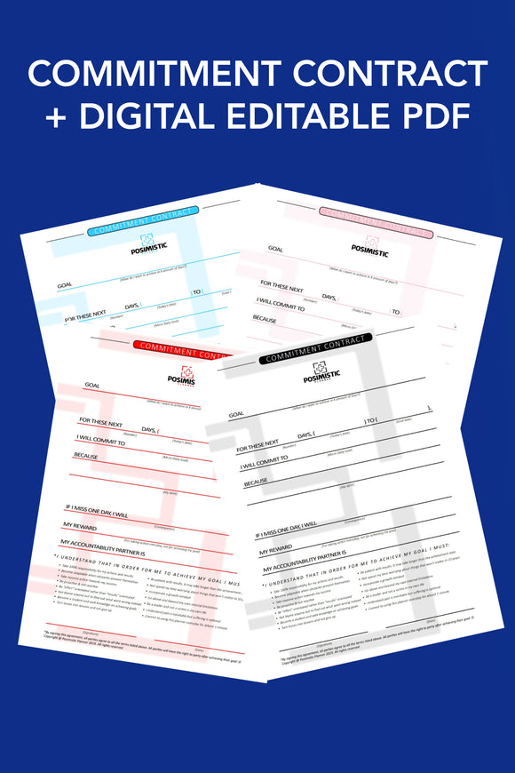 Posimistic Commitment Contract - Editable & Printable PDF
