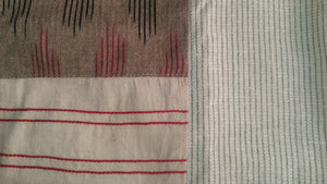 Summer Barn - Handloom Checkered Dress with Ikat and Embroidery - Fabric Close up