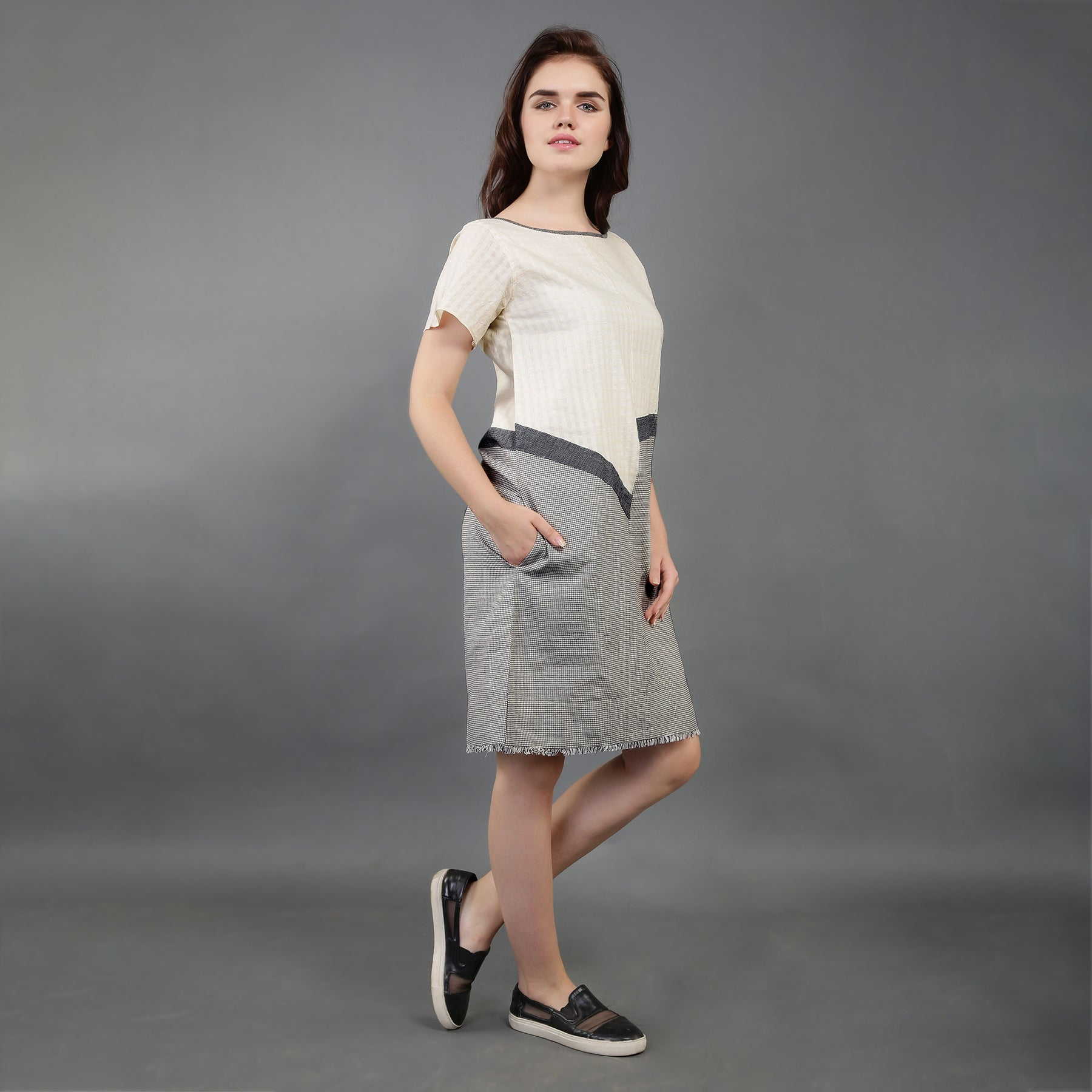SB52 - Colour Block Dobby Cotton Checked Dress