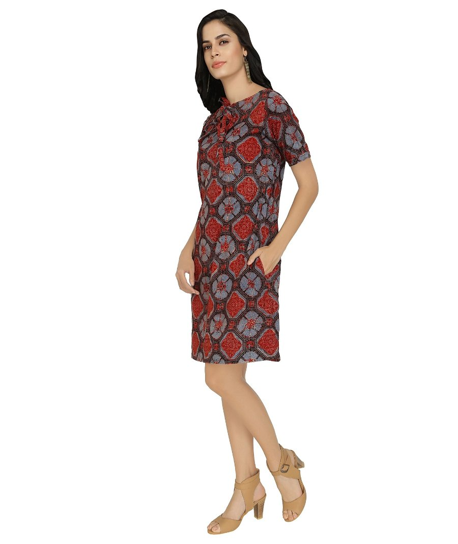 Summer Barn - Ajrakh Printed Summer Dress - Left View