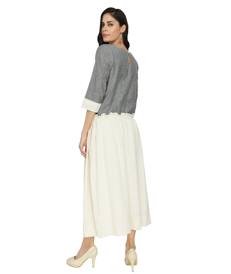 Summer Barn - Grey Off White Resort Dress