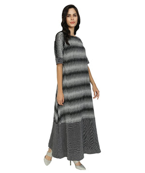 Summer Barn - Black Grey Ikat Long Dress - Right View