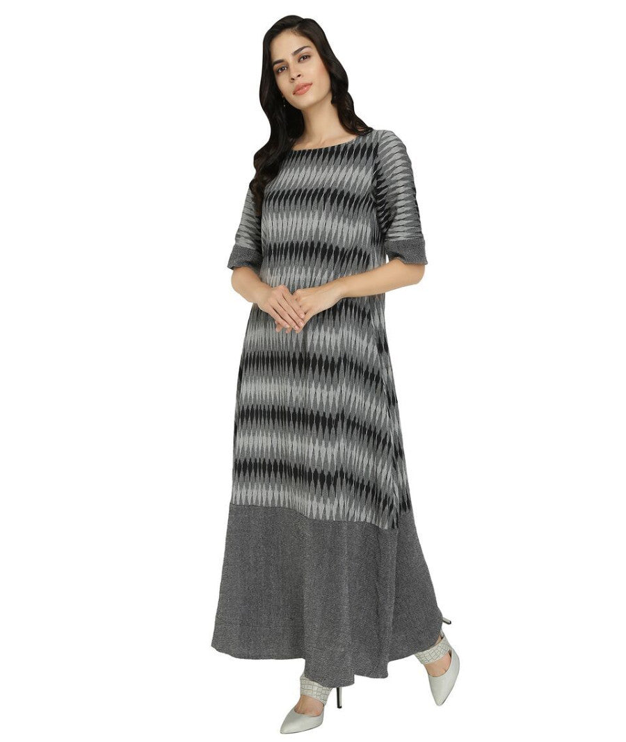 Summer Barn - Black Grey Ikat Long Dress - Left View