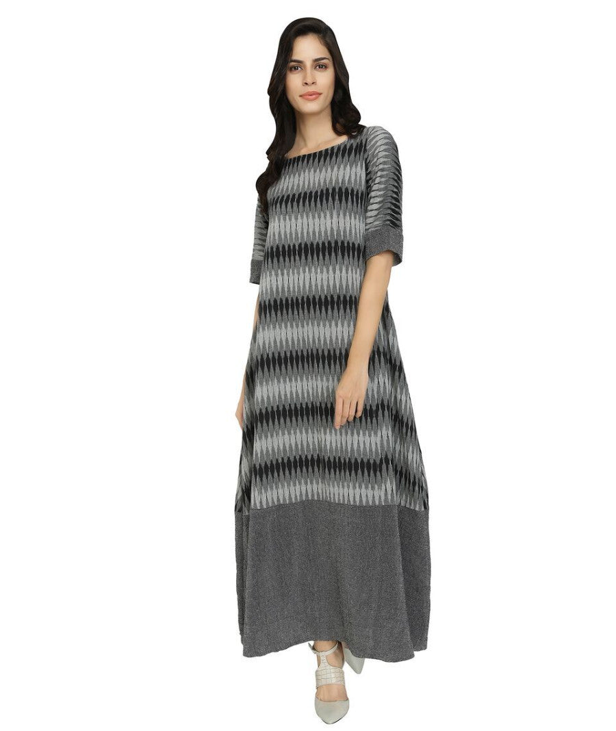 Summer Barn - Black Grey Ikat Long Dress - Front View