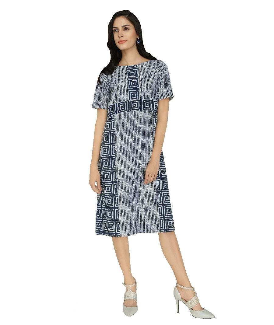 Summer Barn -  Twin Indigo Print Dress - Front View