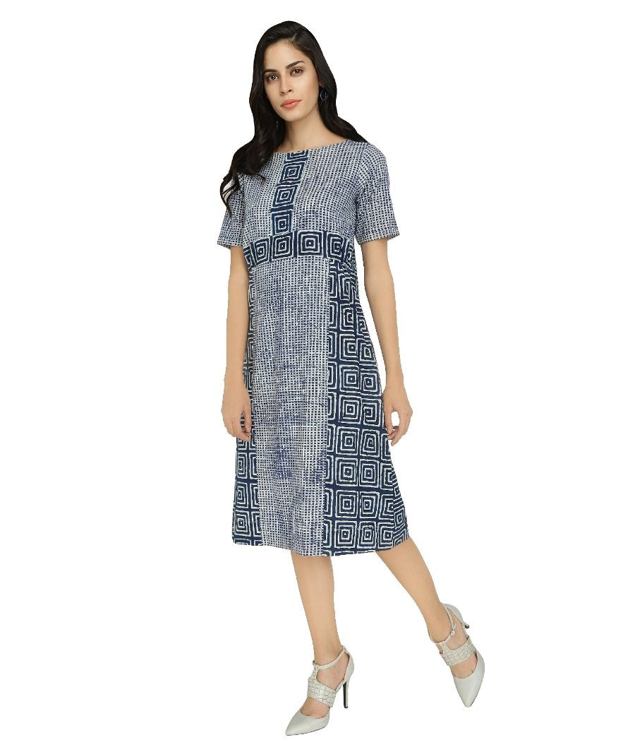 Summer Barn -  Twin Indigo Print Dress - Left View
