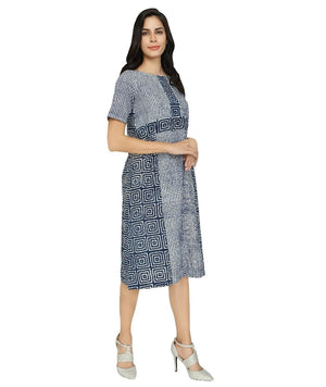Summer Barn -  Twin Indigo Print Dress - Right View